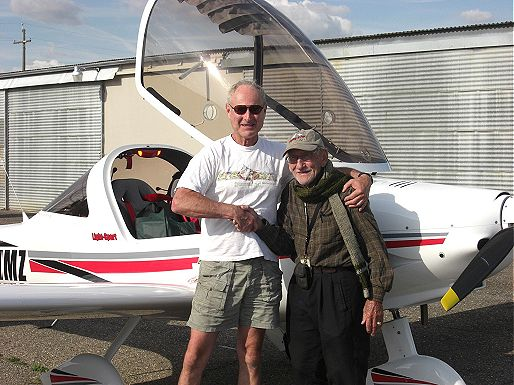 Picture of Author DR DeHaven's test flight with instructor